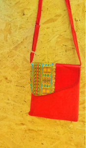 Orange recycled shoulder bag