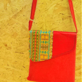 Orange Handmad recycled shoulder bag