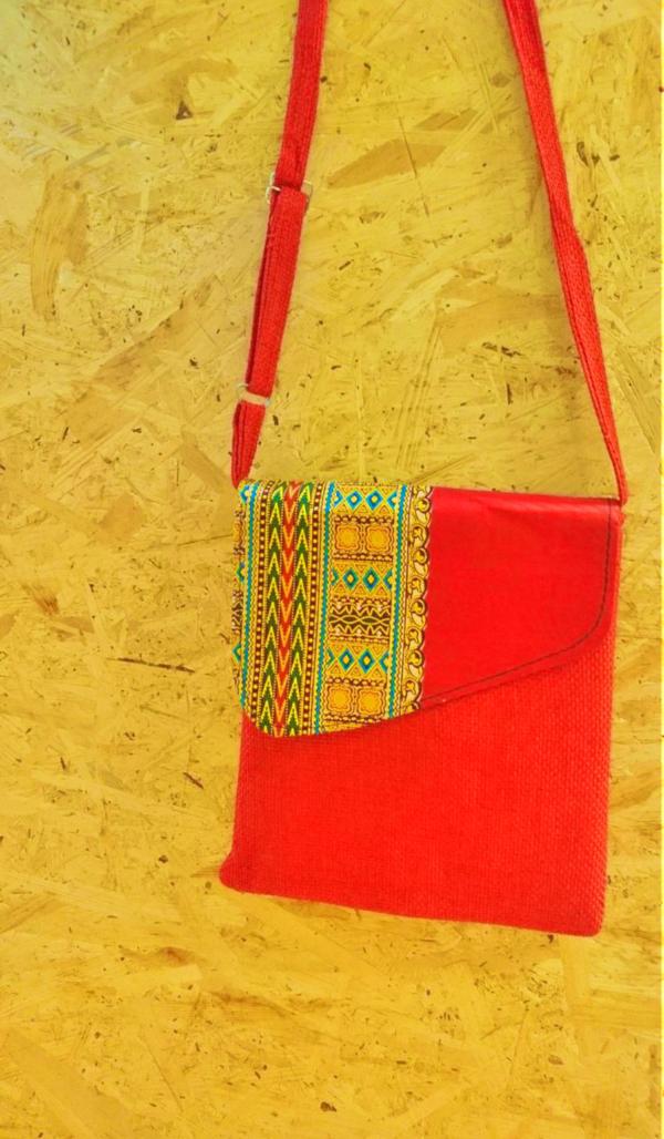 Orange Handmad recycled shoulder bag
