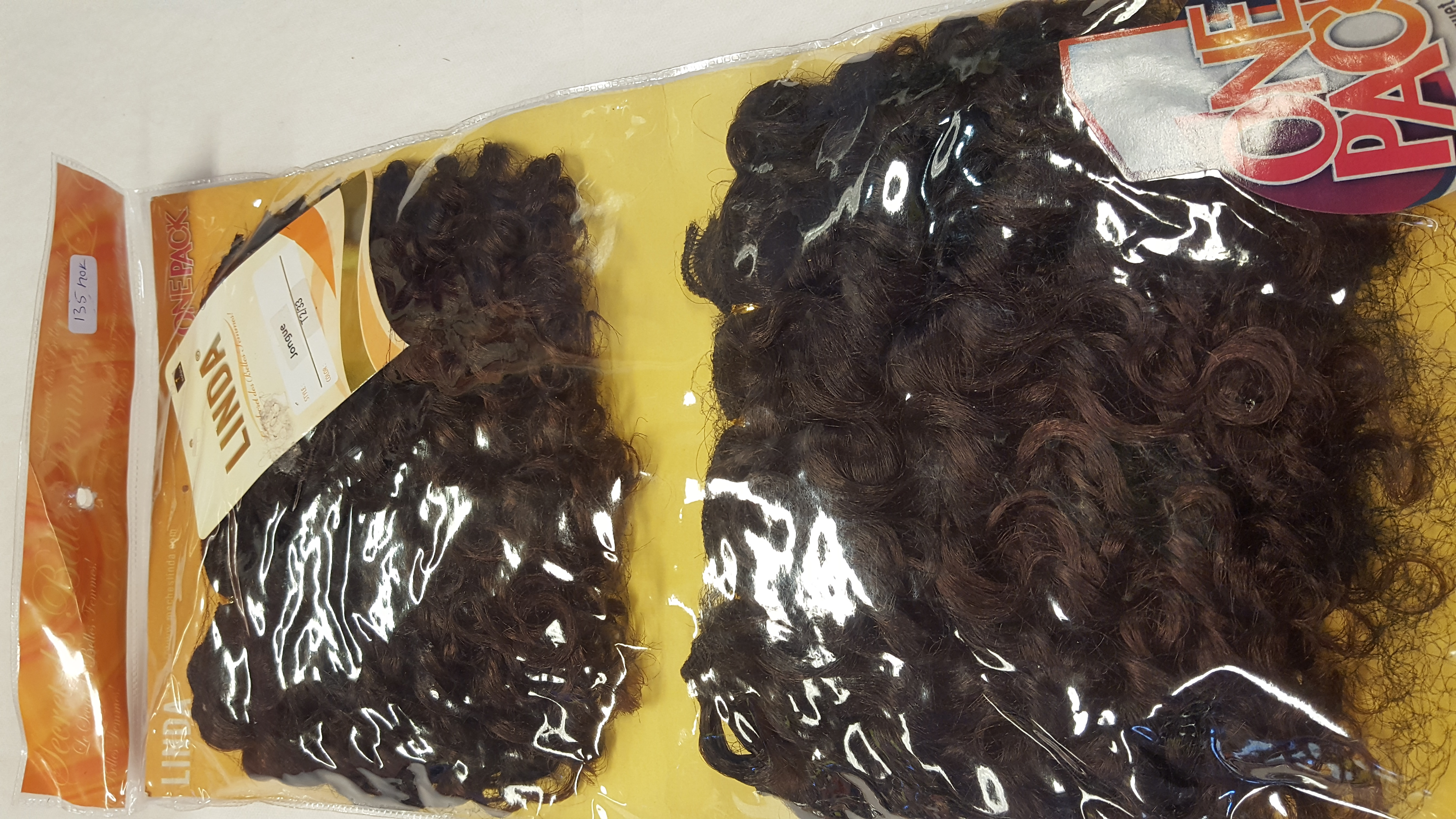 LINDA curly sew in SHORT weave synthetic hair BROWN