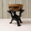 Ebony wooden bowl with intertwined sculptures