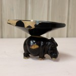 Hippopotamus with ashtray on its back ebony wood