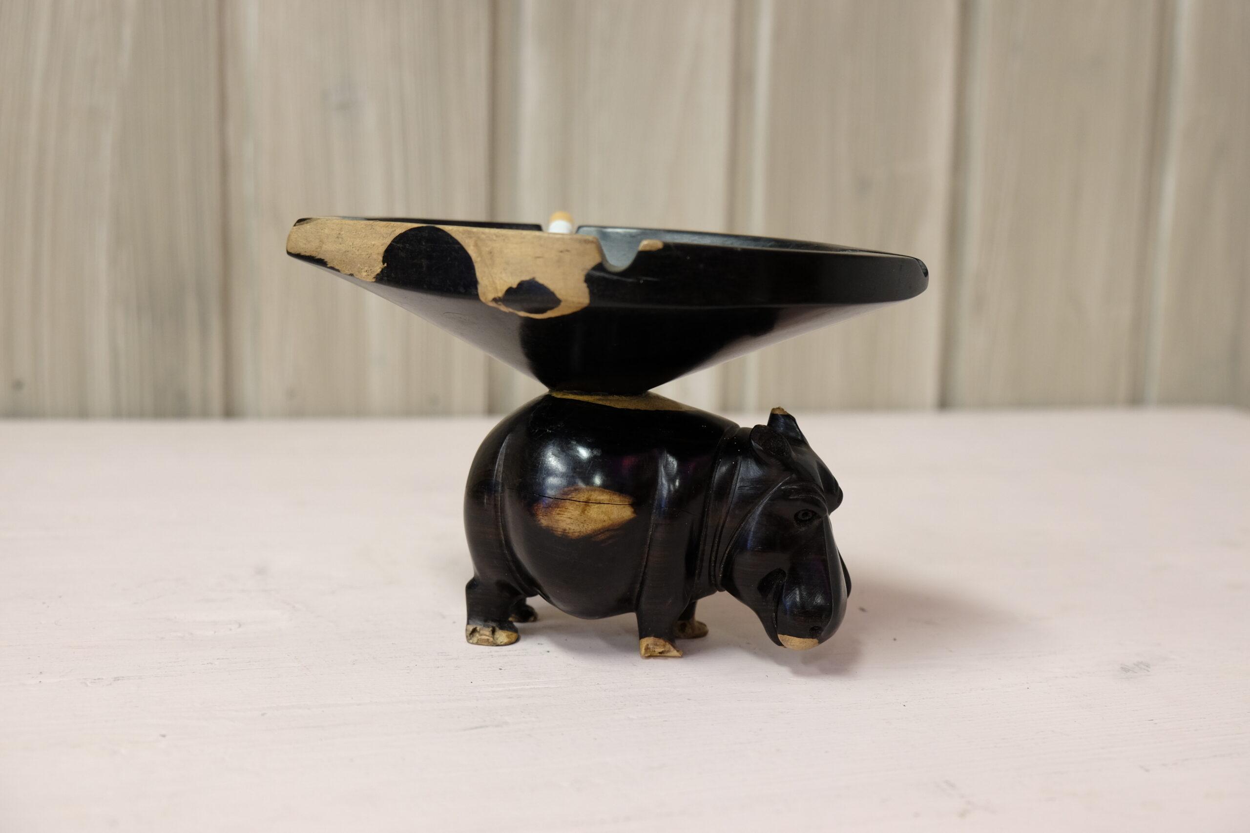 Hippopotamus with ashtray on its back ebony wood