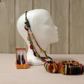 Necklace with assorted earrings and bracelet